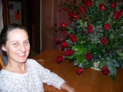Dawn and her roses